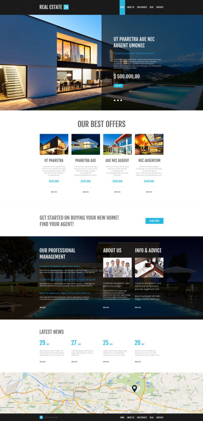 """Services d'agent immobilier"" thème WordPress adaptatif #53001"