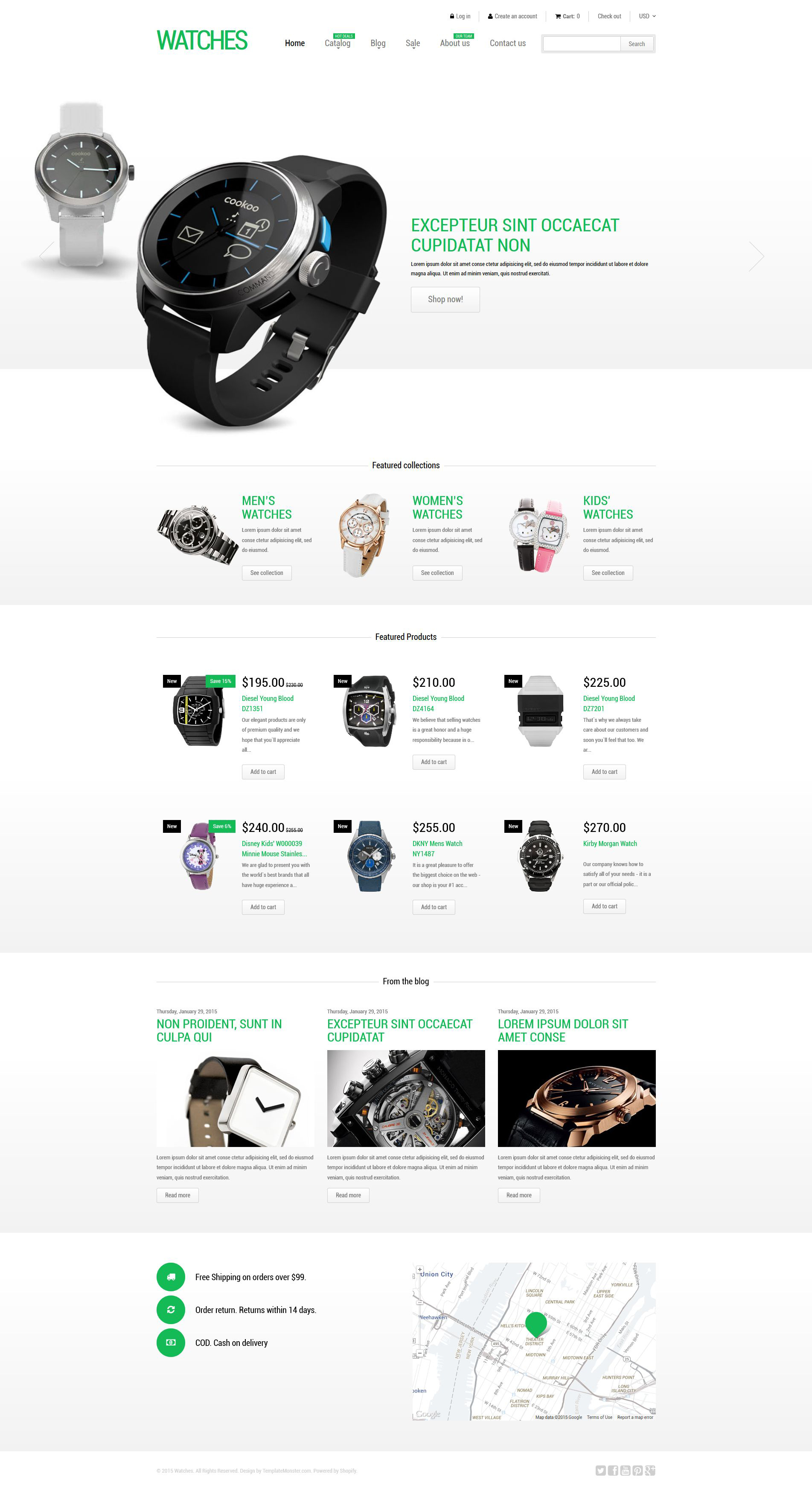 """Stylish Watches"" - адаптивний Shopify шаблон №53079"
