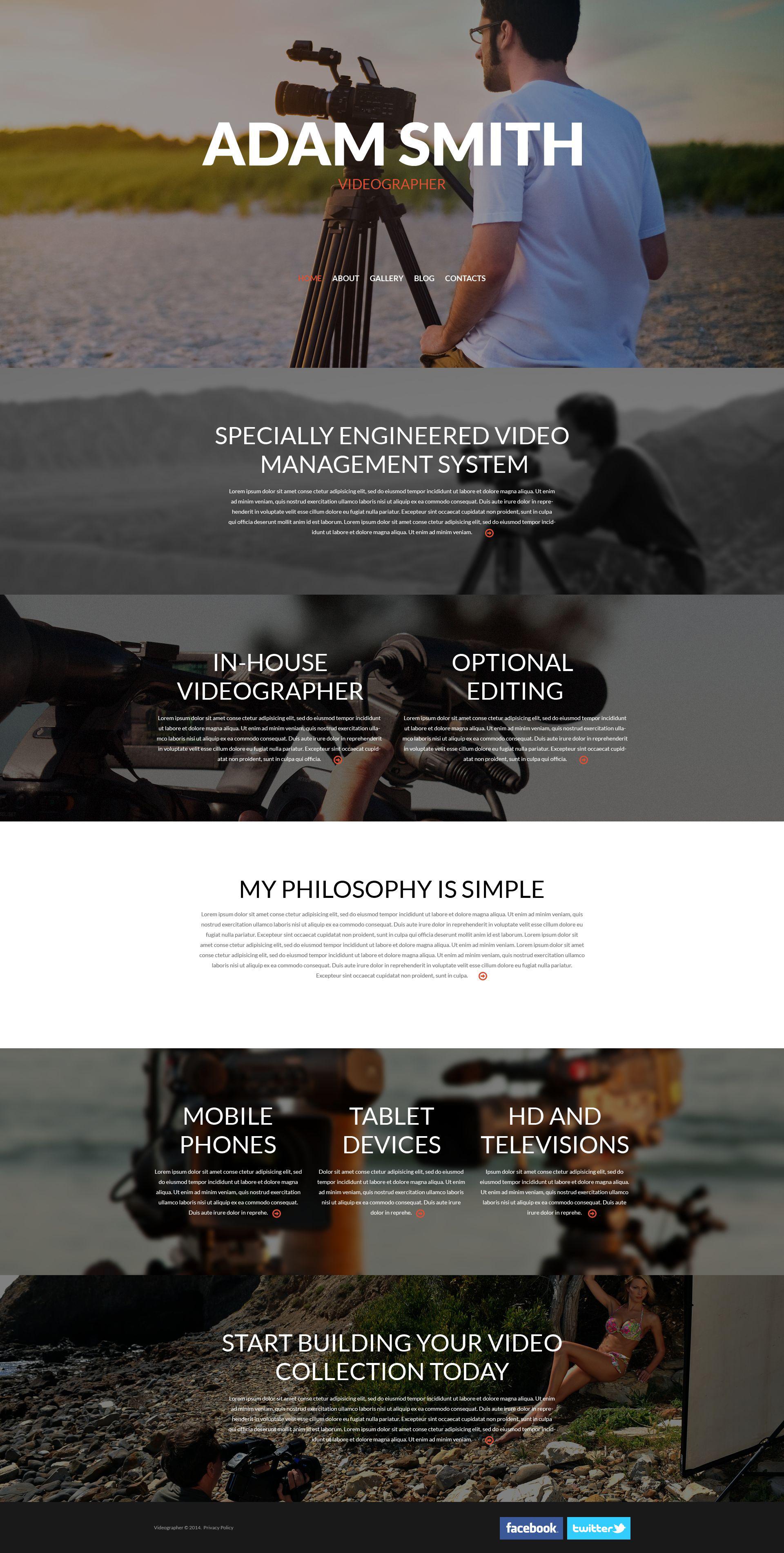 Template WordPress Responsive #53017 per Un Sito di Videografo