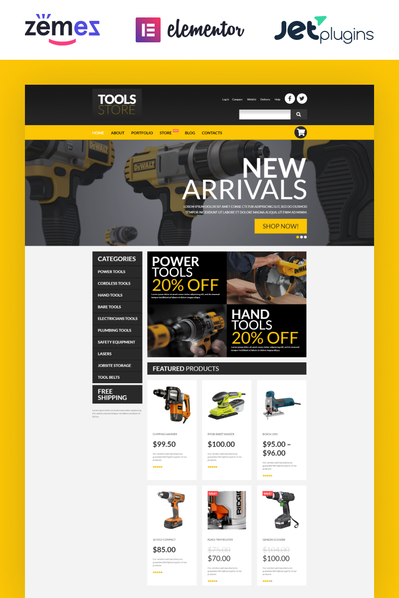 """Tools Online Store"" - адаптивний WooCommerce шаблон №53020"