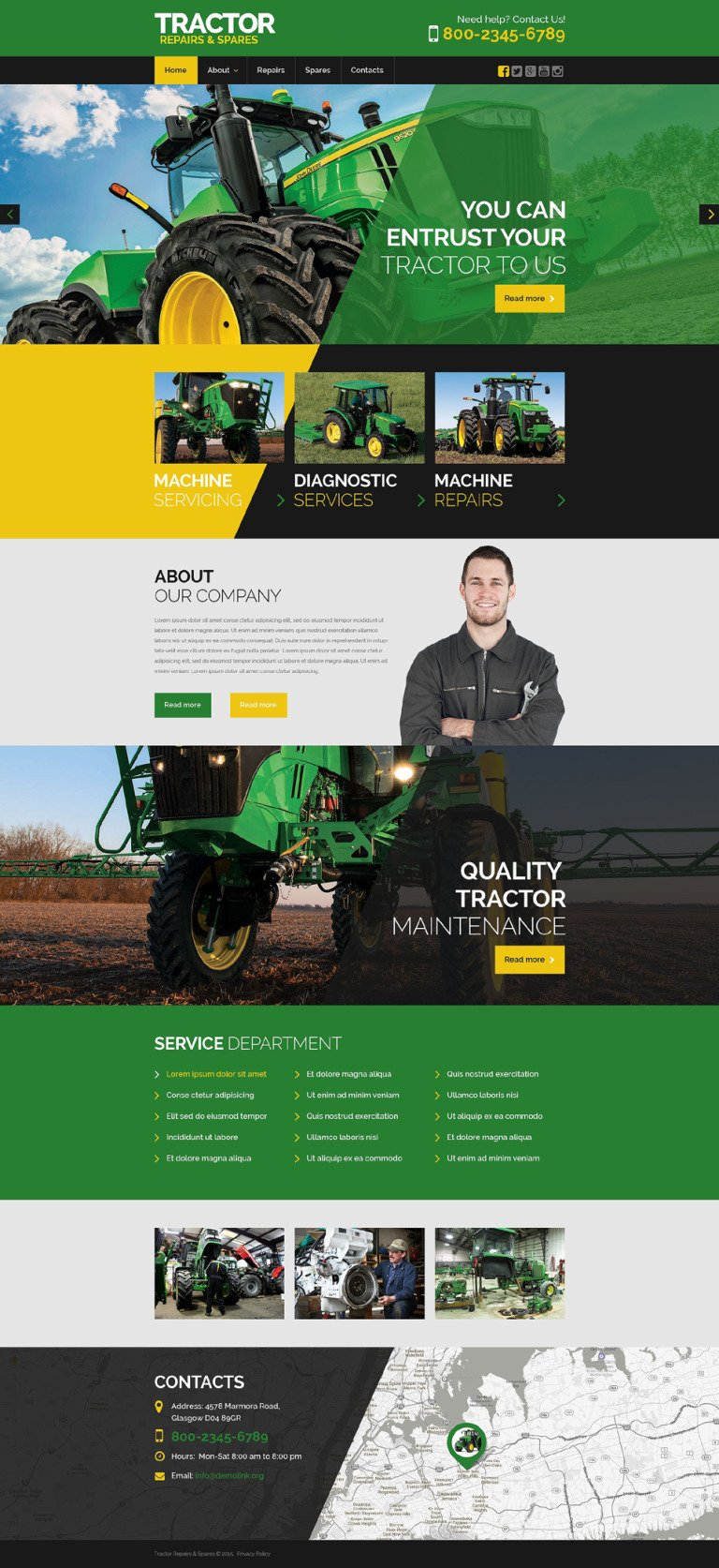 Tractor Maintenance Website Template New Screenshots BIG