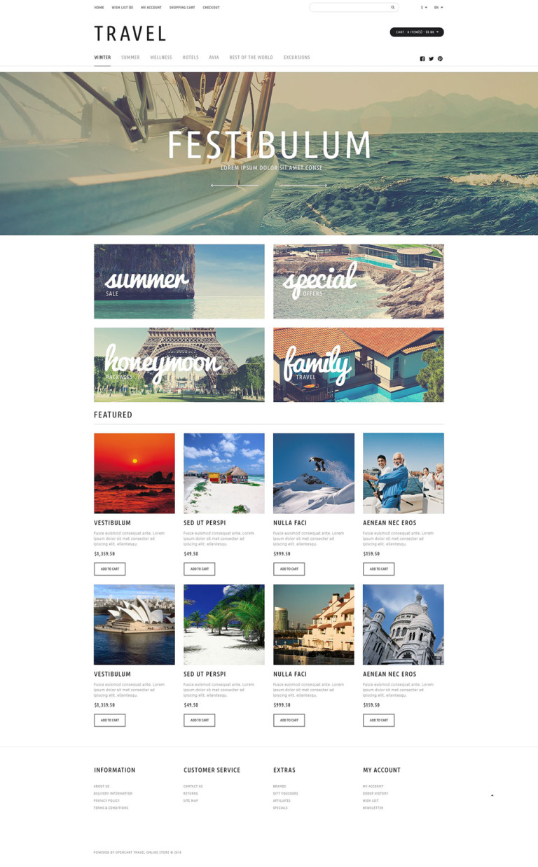 Travel Tours Store OpenCart Template New Screenshots BIG