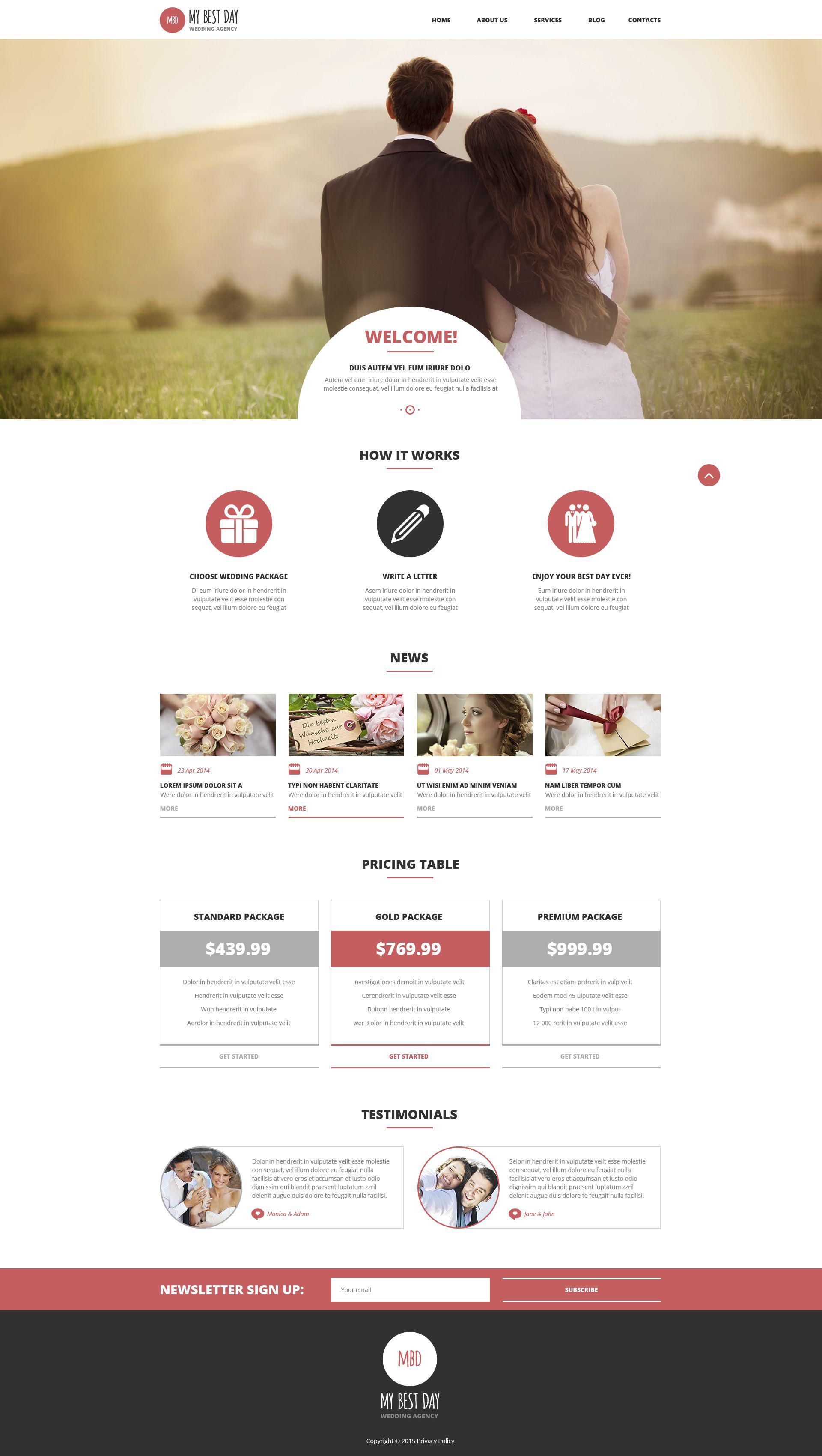 """Wedding Planning Consultancy"" 响应式WordPress模板 #53015"