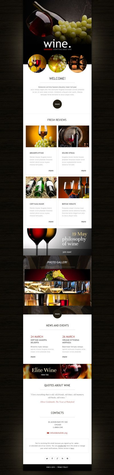 Wine Responsive Newsletter Template #53029
