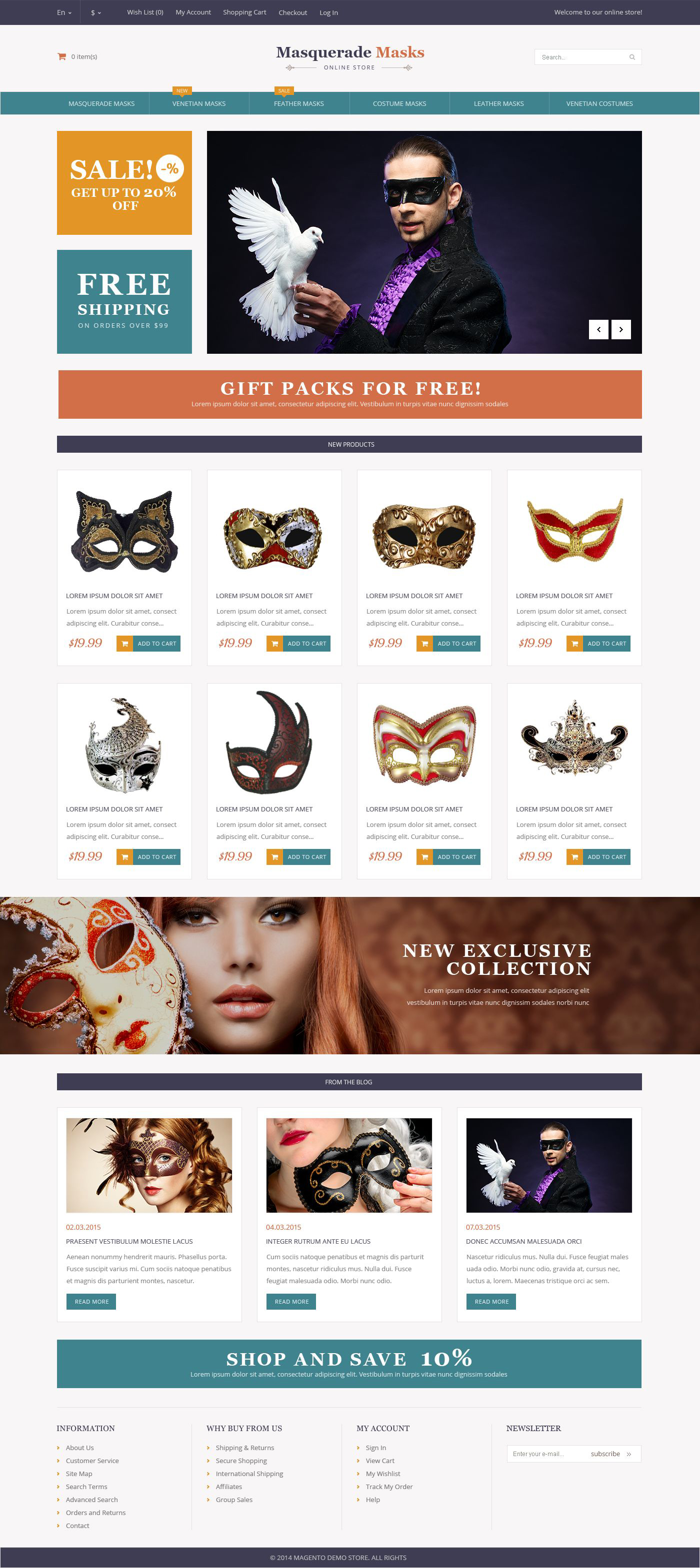 The Masks Masquerade Store Magento Design 53176, one of the best Magento themes of its kind (entertainment, most popular), also known as Masks masquerade store Magento template, shopping cart Magento template, services Magento template, prices Magento template, holidays Magento template, mask Magento template, wigs Magento template, hair Magento template, footwear Magento template, costumes and related with Masks masquerade store, shopping cart, services, prices, holidays, mask, wigs, hair, footwear, costumes, etc.