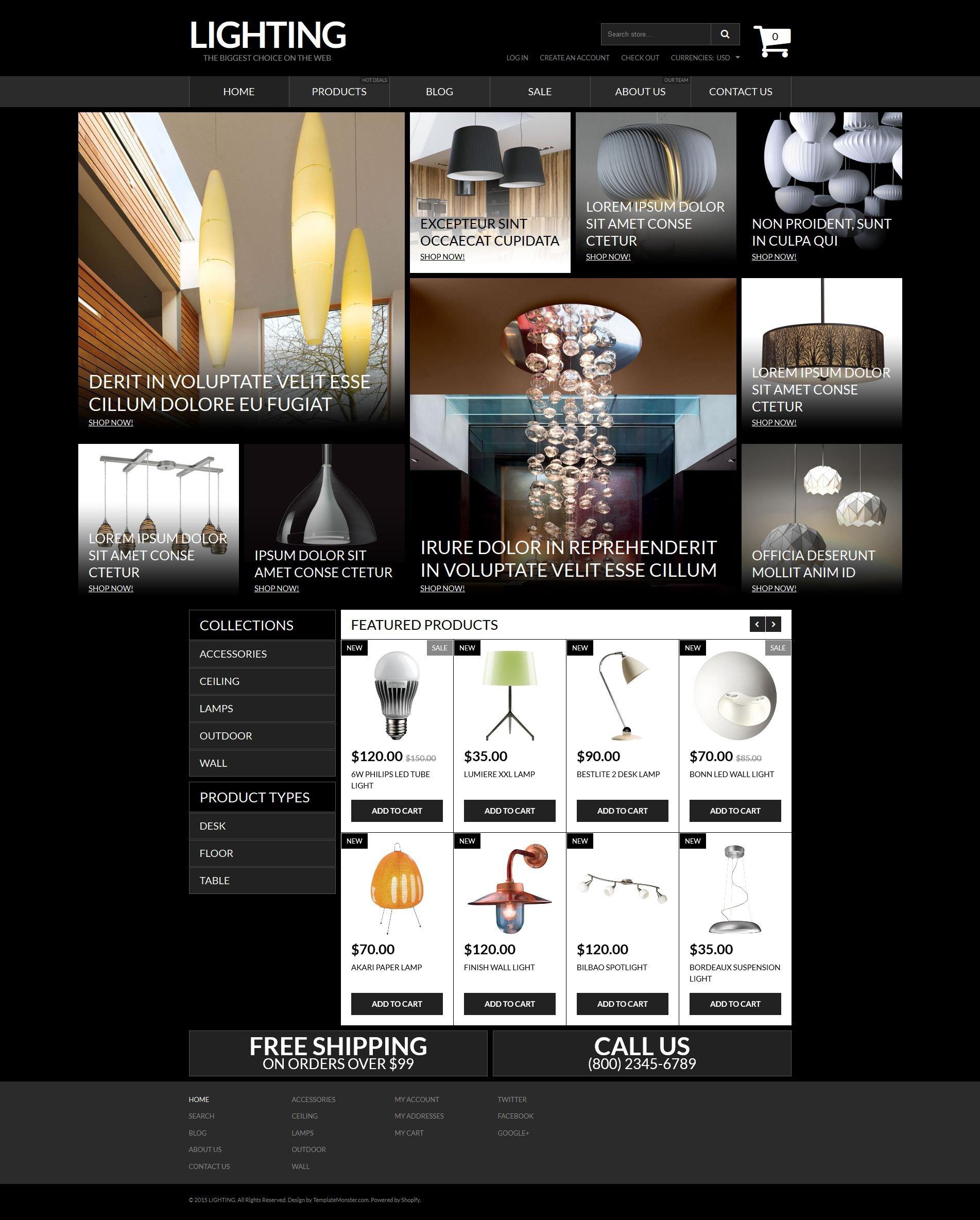Адаптивный Shopify шаблон №53115 на тему электричество - скриншот