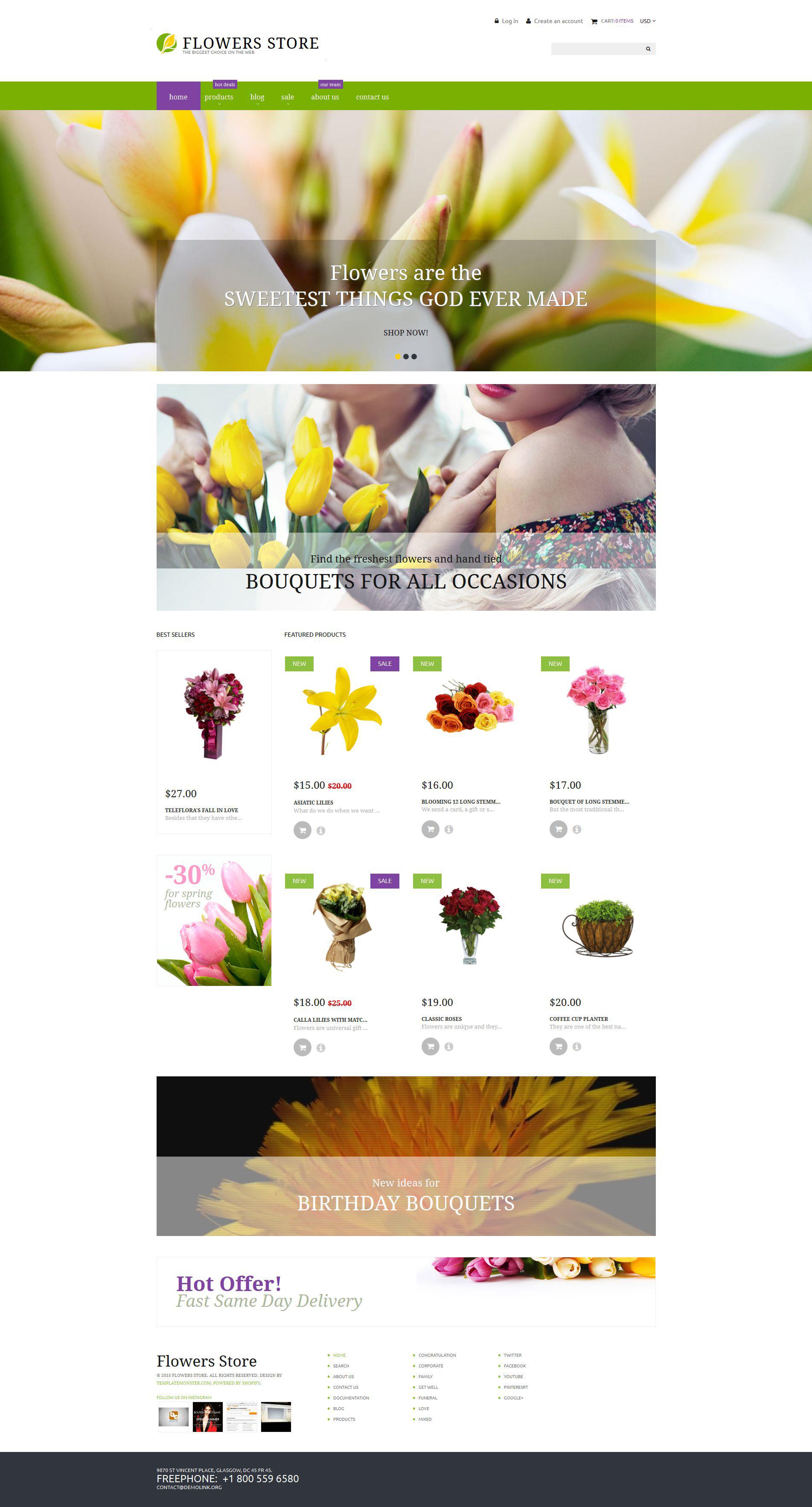 Адаптивный Shopify шаблон №53138 на тему цветочный магазин