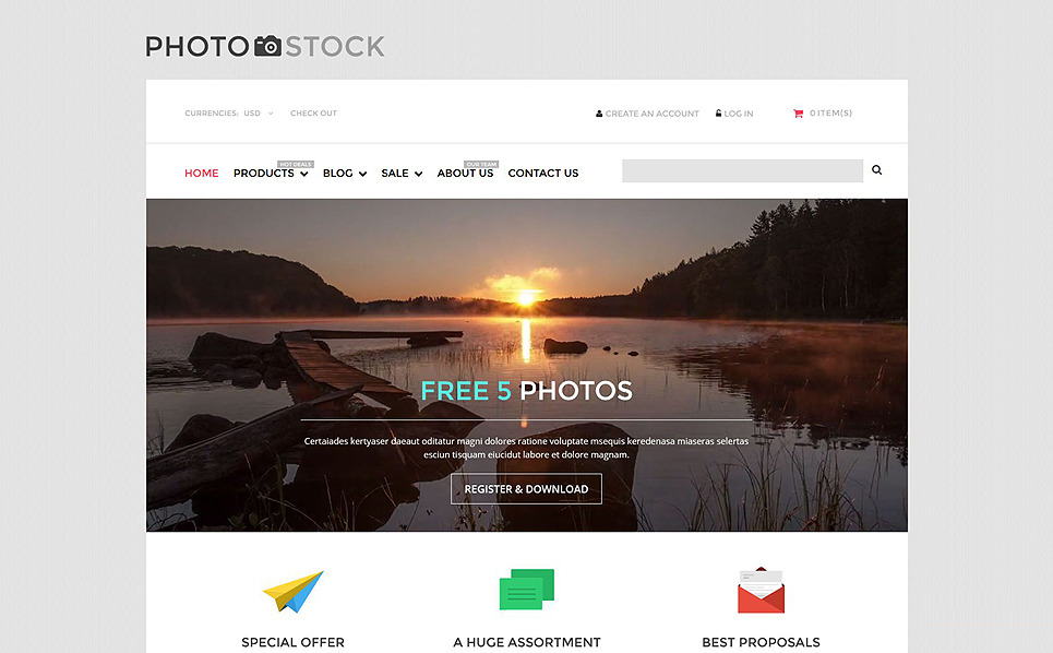 Адаптивный Shopify шаблон №53140 на тему фотомагазин New Screenshots BIG