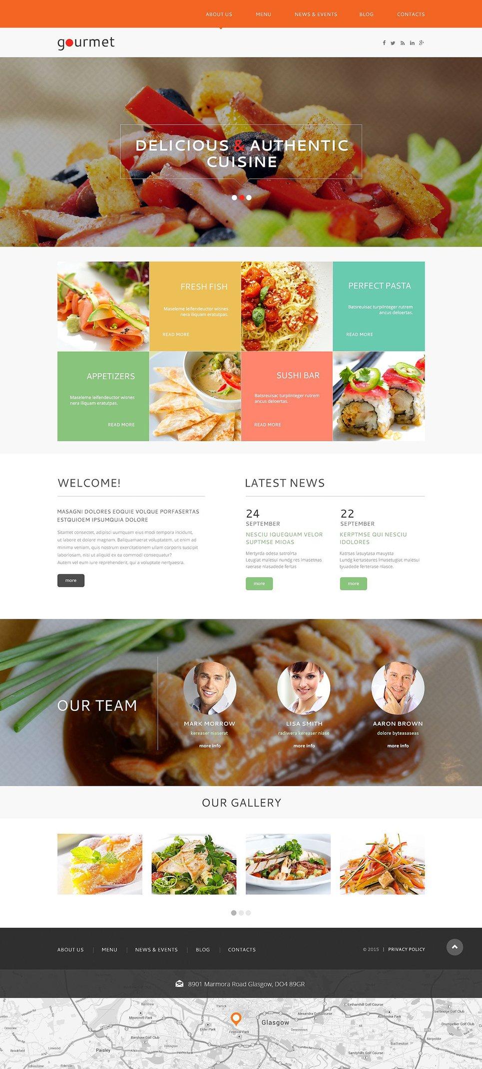 Адаптивный шаблон сайта на тему европейский ресторан #53143