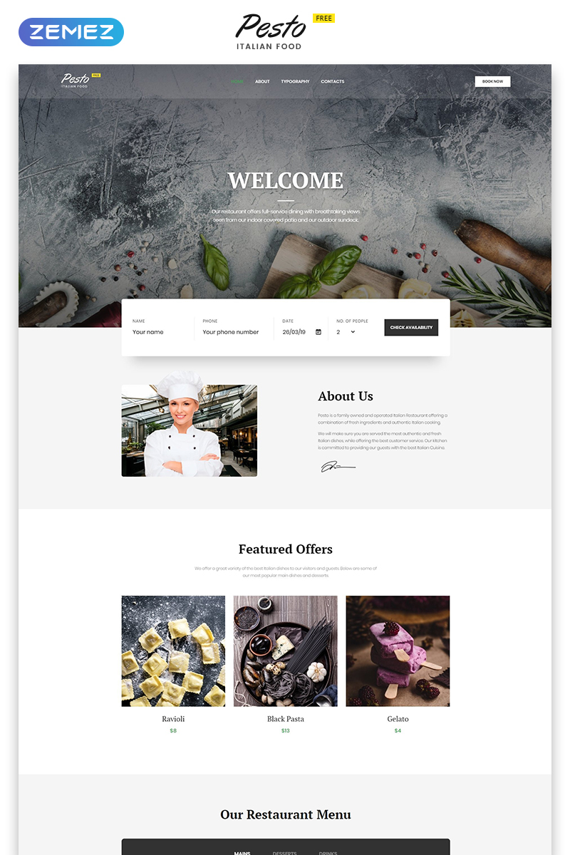 """Cafe & Restaurant Free Website Templates"" 响应式网页模板 #53136"