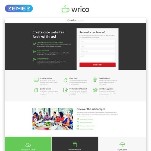 Wrico - Responsive Landing Page Template