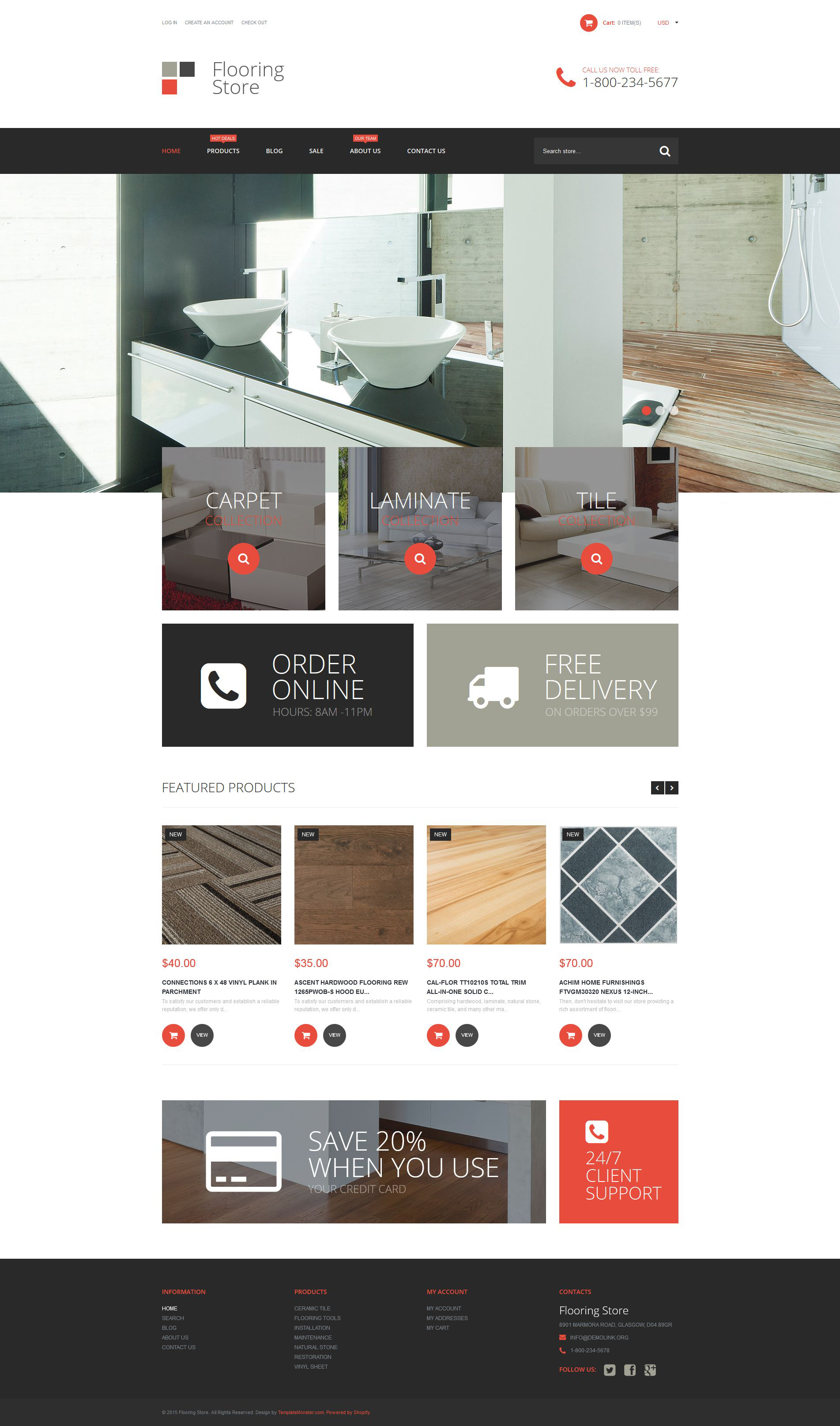 Flooring Store Tema de Shopify №53192