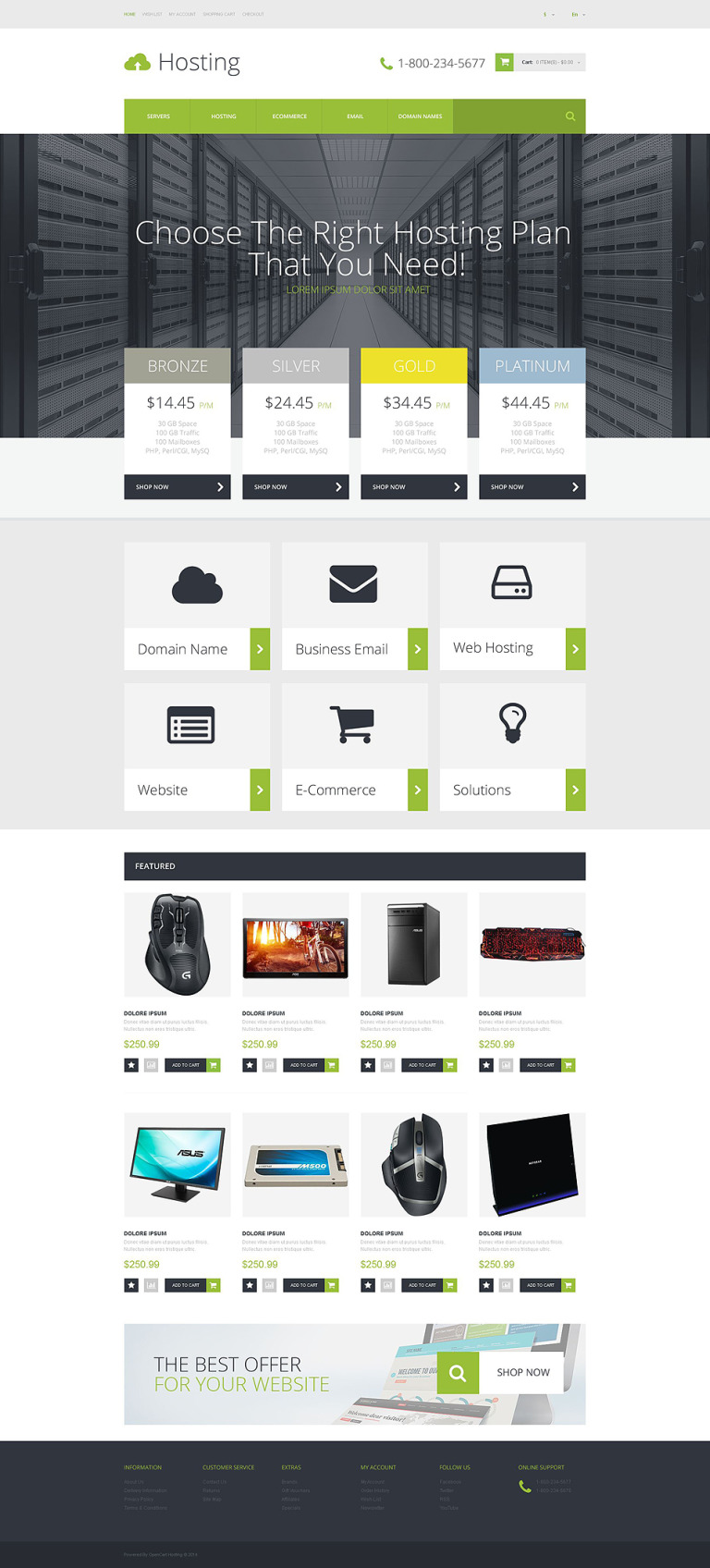 Hosting Provider OpenCart Template New Screenshots BIG