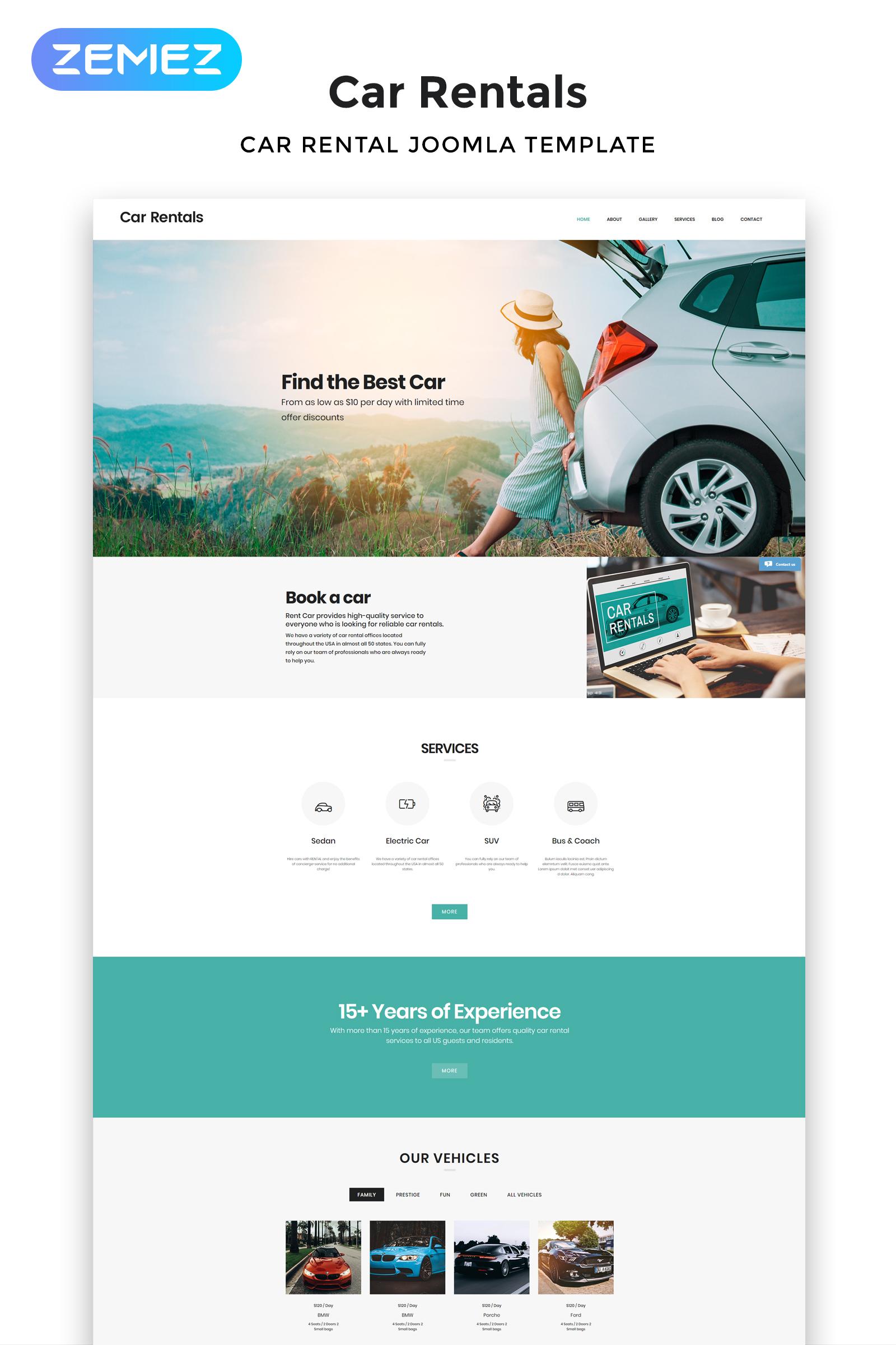 """Joomla Vorlage namens """"Car Rentals - Car Rental Responsive"""" #53134"""