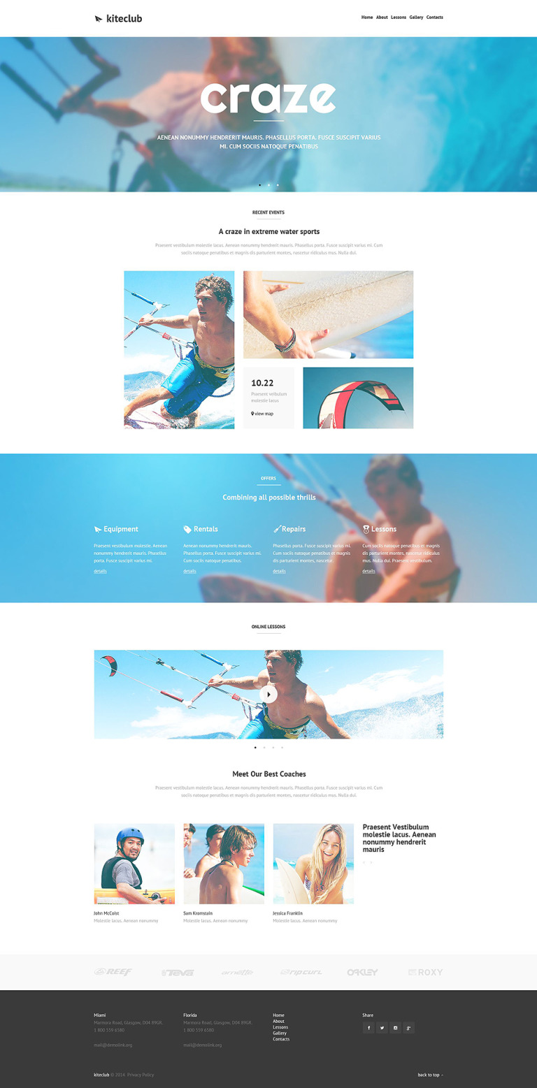 Kiteboarding Club Website Template New Screenshots BIG