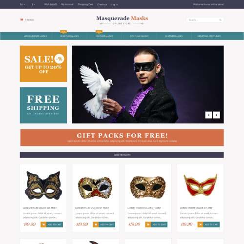 Masquerade Masks - Magento Template based on Bootstrap