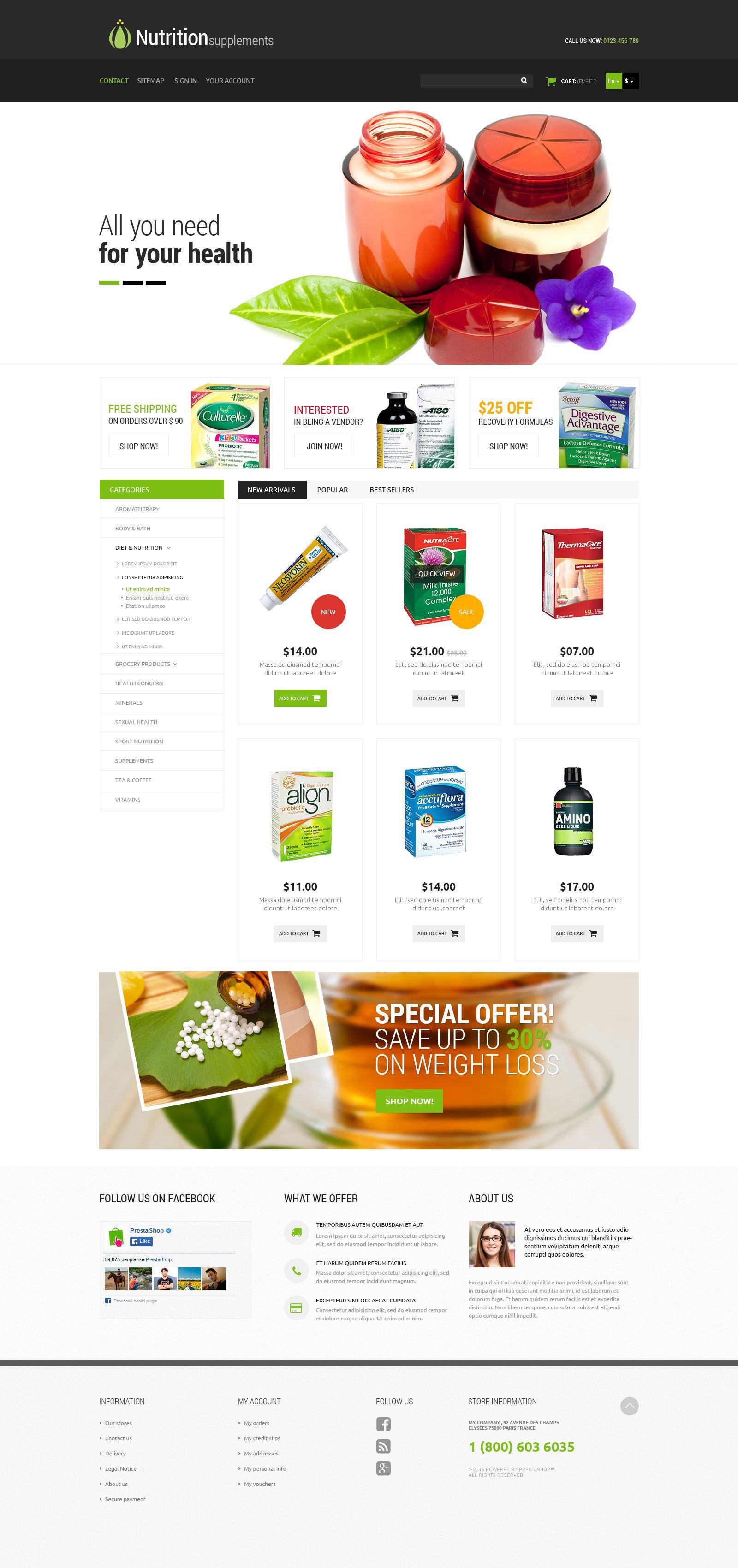 """Nutrition Products"" - адаптивний PrestaShop шаблон №53135"