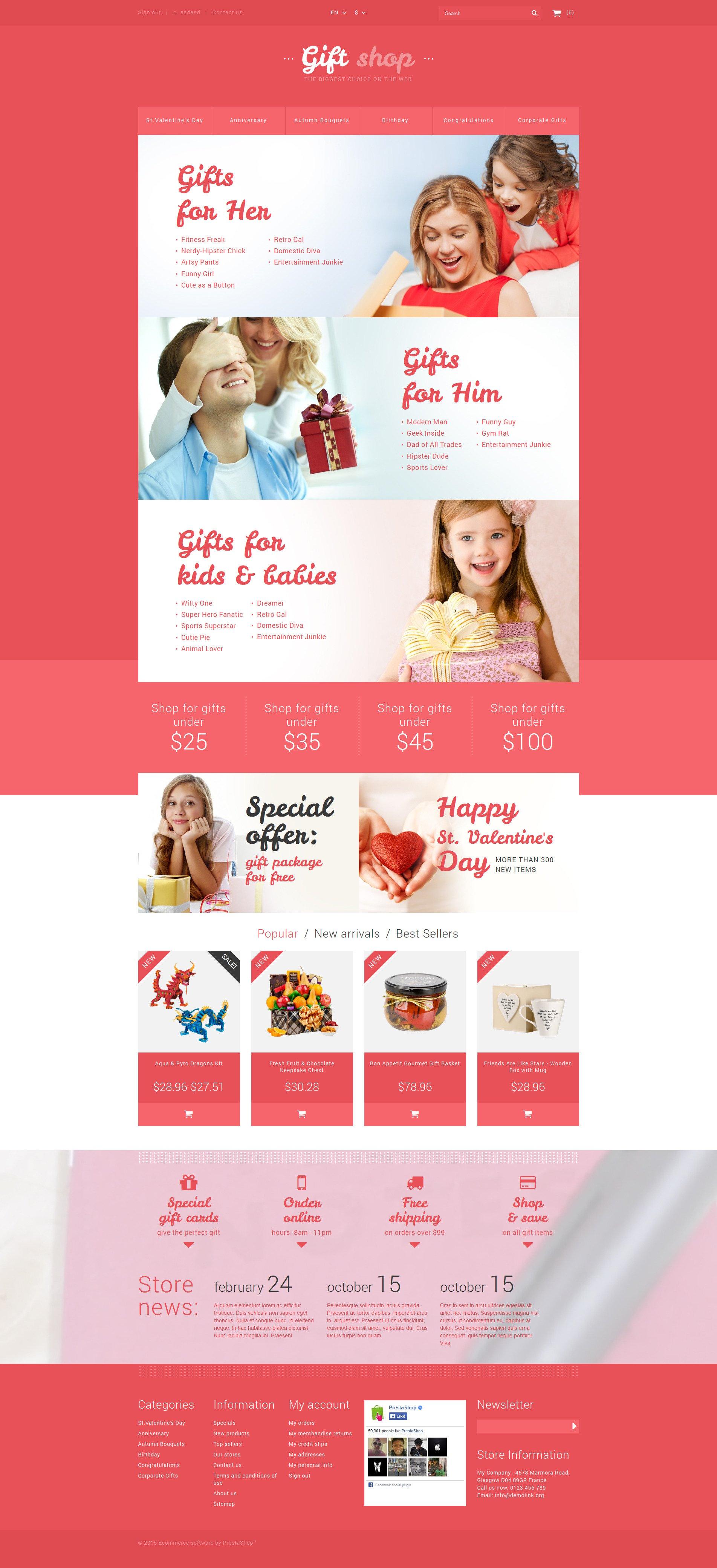 """Online Gifts Shop"" - адаптивний PrestaShop шаблон №53171"