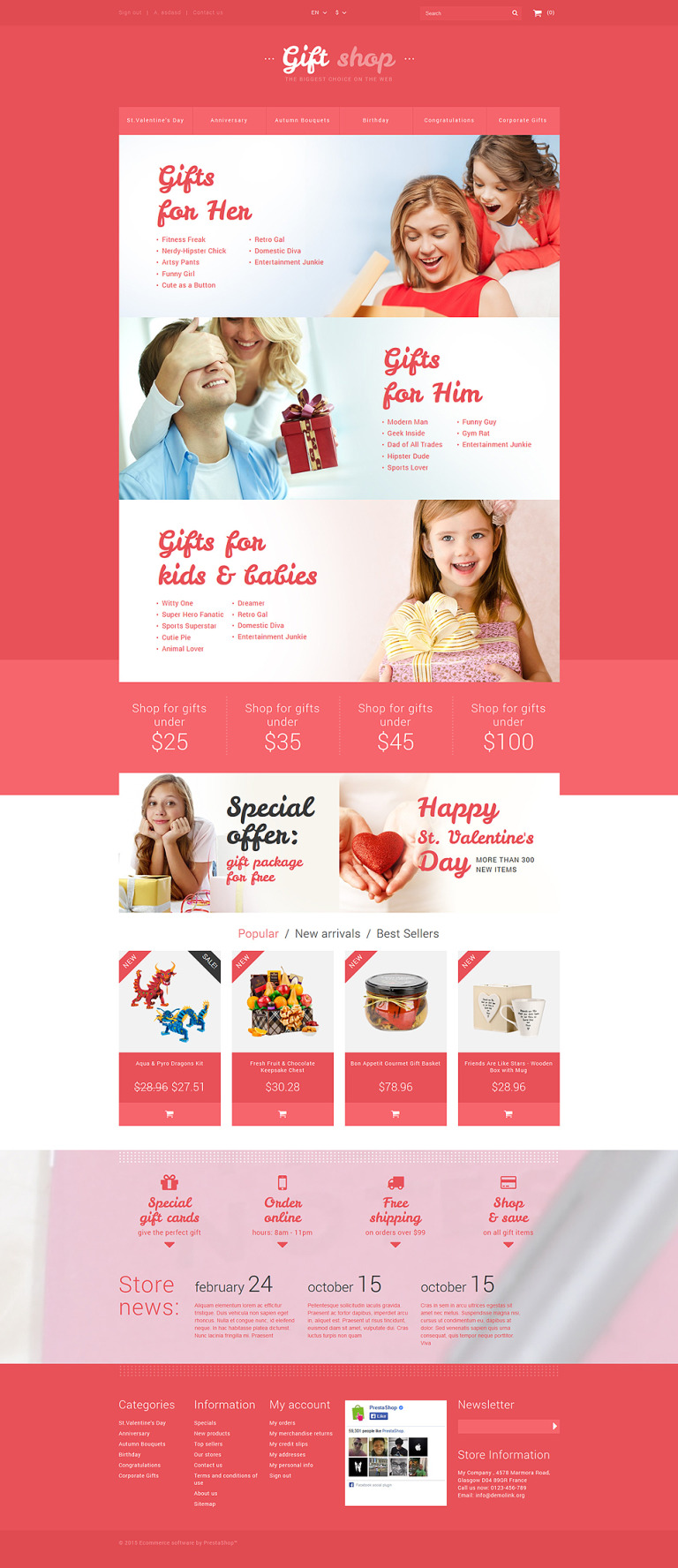 Online Gifts Shop PrestaShop Theme New Screenshots BIG