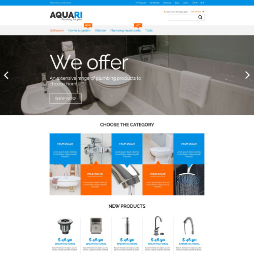 Aquari Plumbing Services - Magento Template based on Bootstrap