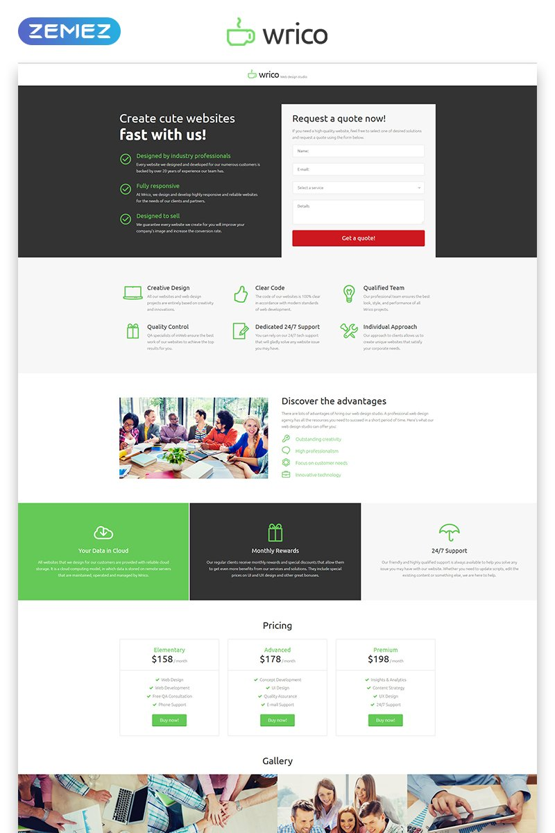 Responsive Wrico - Web Development HTML Açılış Sayfası #53182