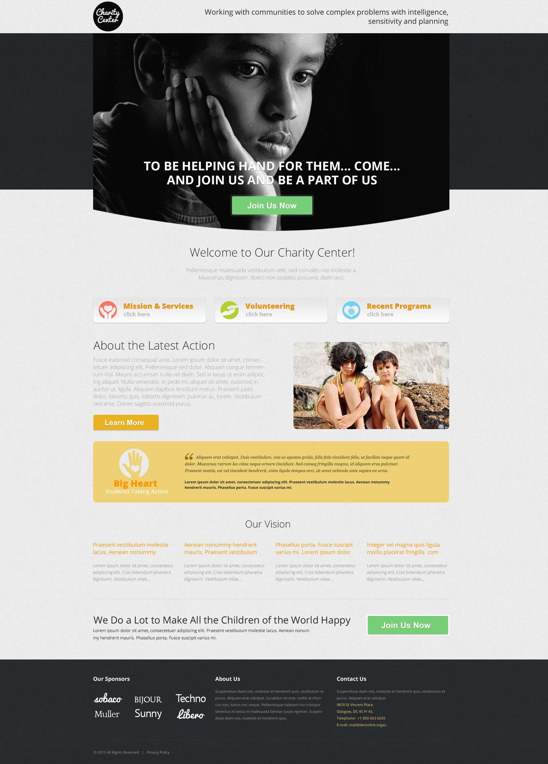 Responsives Landing Page Template für Wohltätigkeit #53181