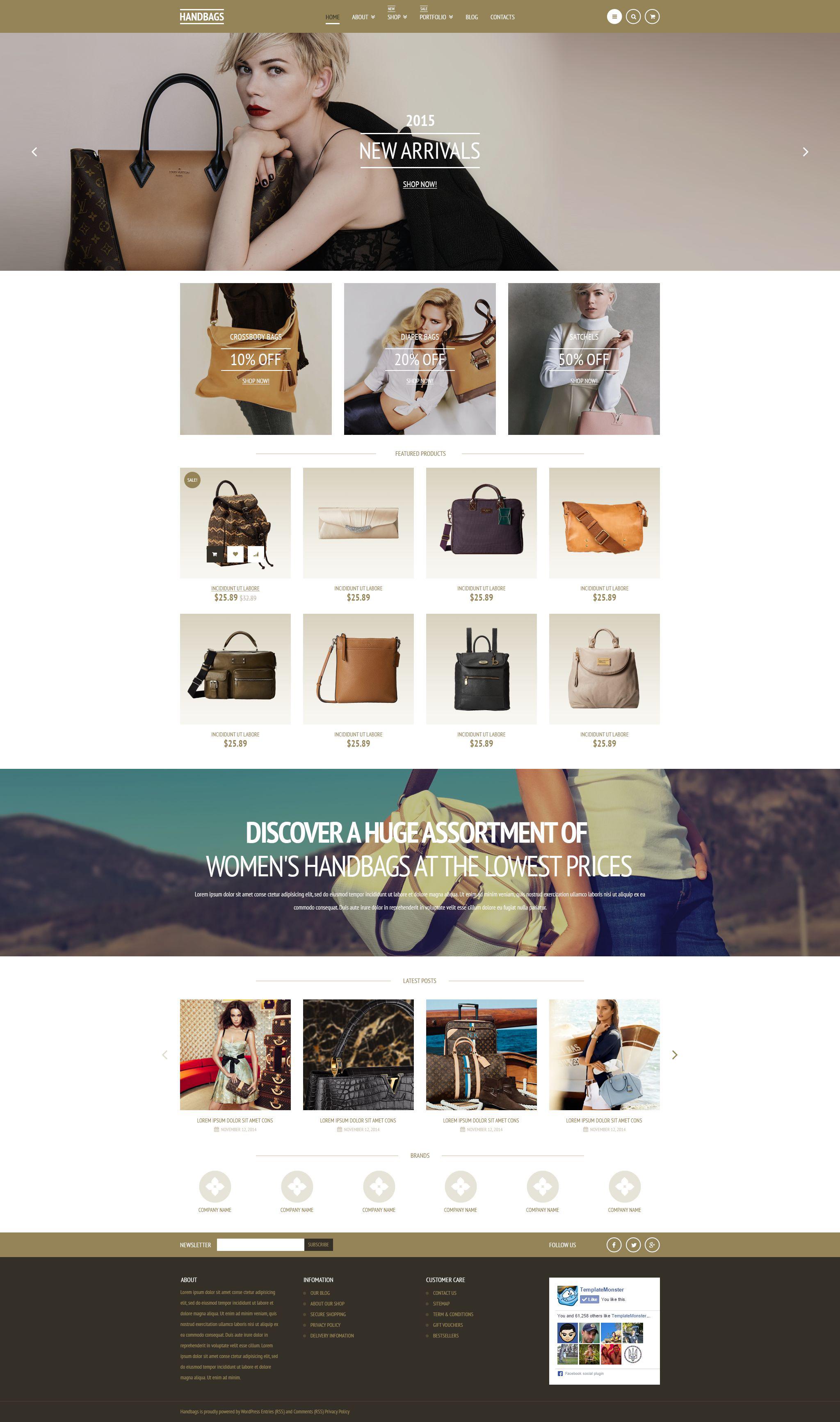 Responsivt Elegant Handbags WooCommerce-tema #53170