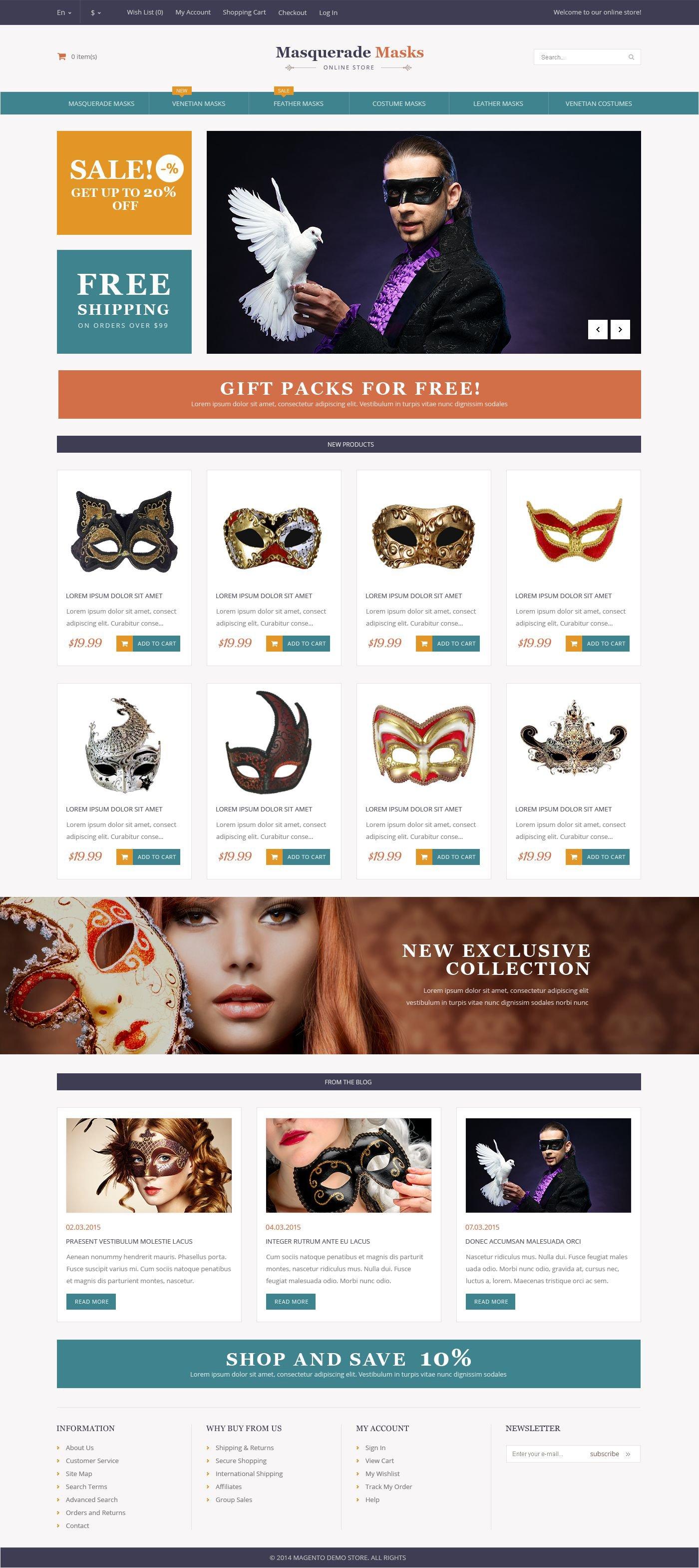 Responsivt Masquerade Masks Magento-tema #53176