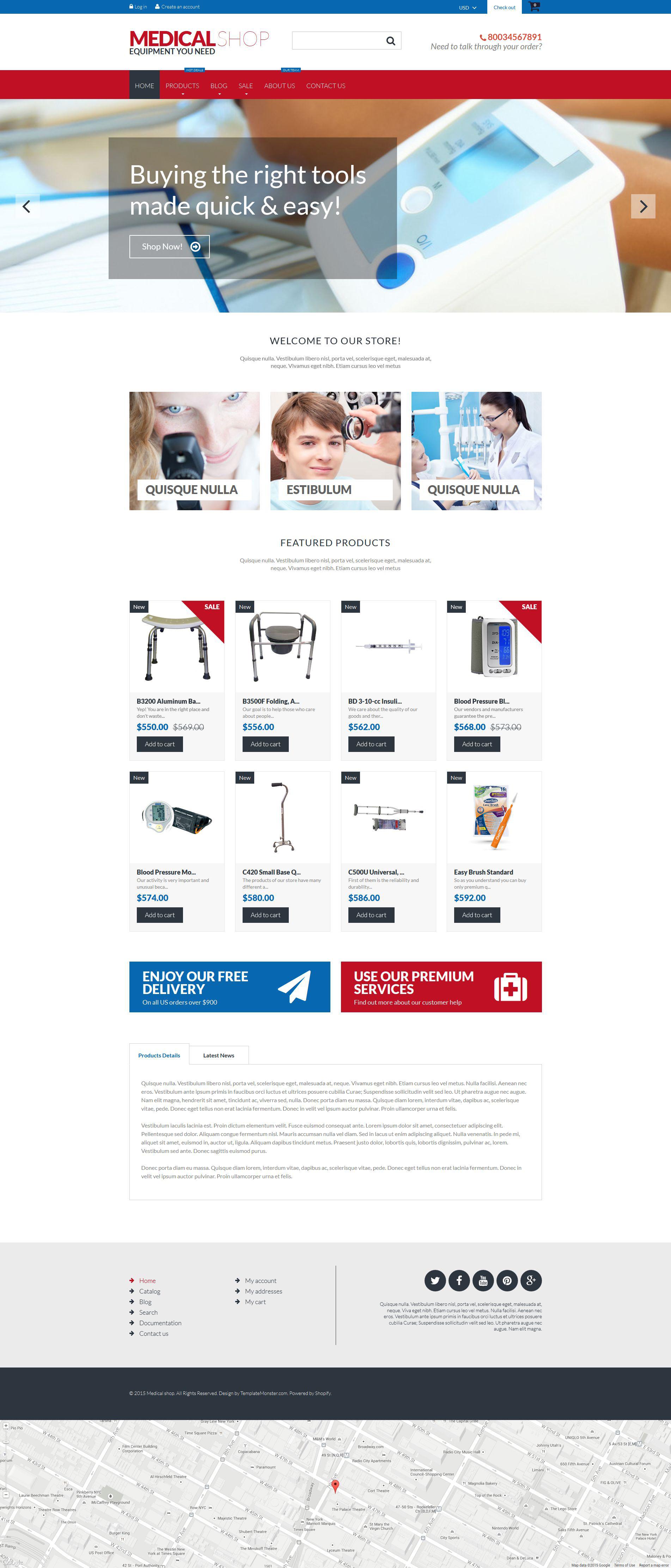 Responsivt Medical Equipment Shopify-tema #53141