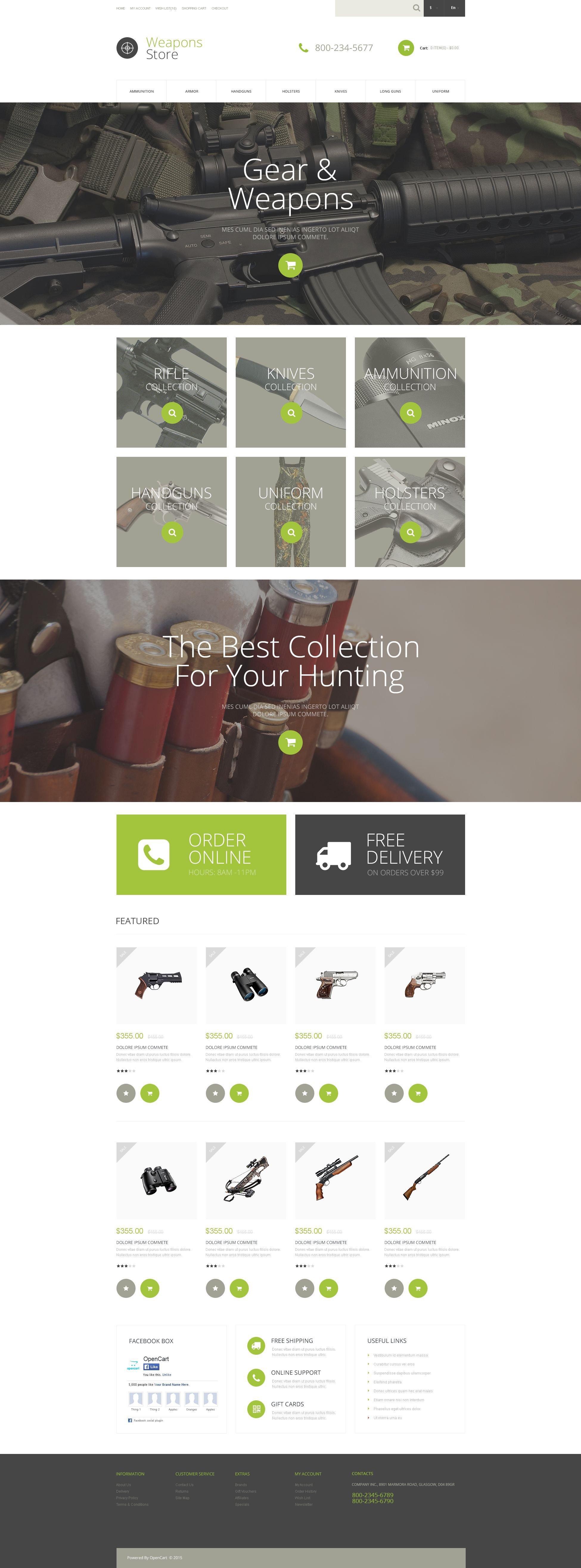 "Responzivní OpenCart šablona ""Weapons Collection"" #53162"