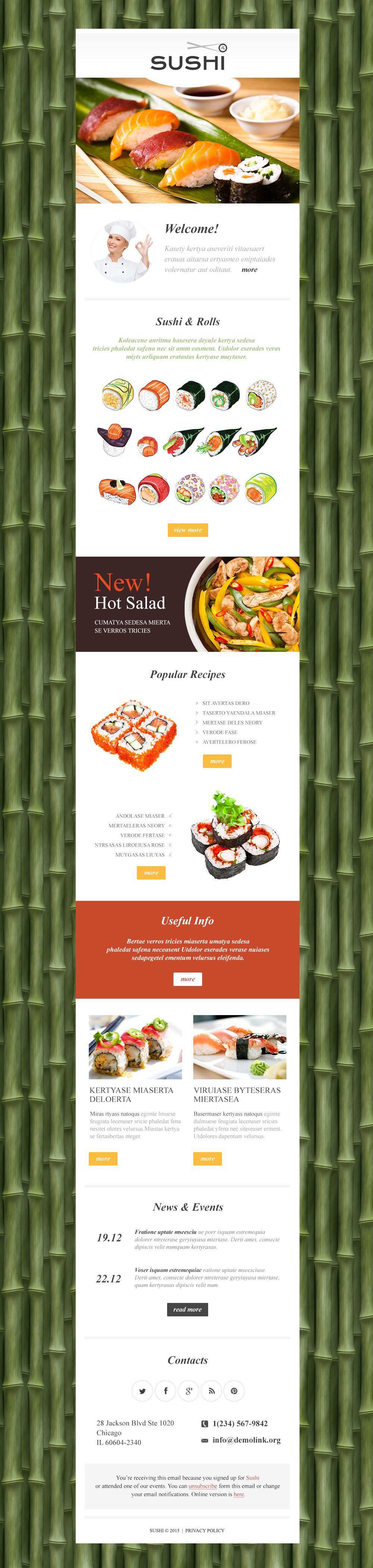 Reszponzív Sushi étterem Hírlevél sablon 53102