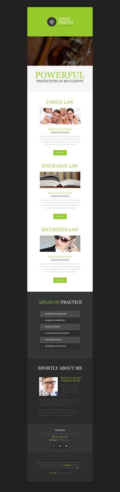 Шаблон рассылки №53195 на тему юридическая фирма