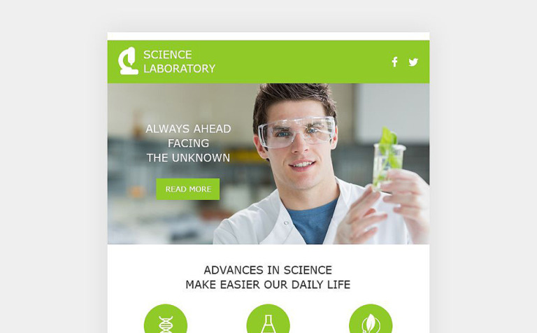 Science Lab Responsive Newsletter Template - Daily newsletter template