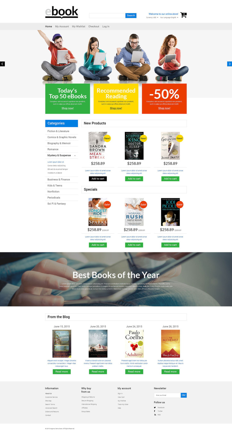 Selling E-books Magento Theme New Screenshots BIG