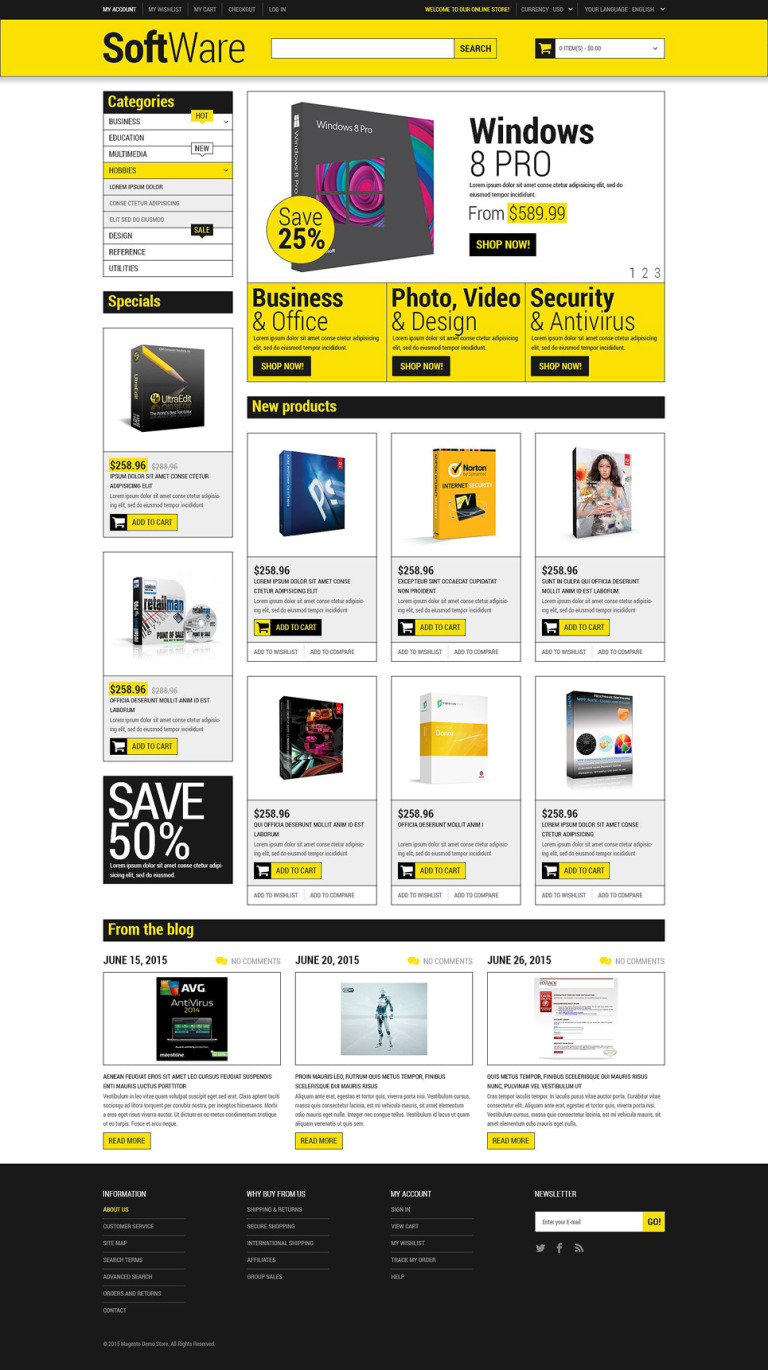 Software Store Magento Theme New Screenshots BIG