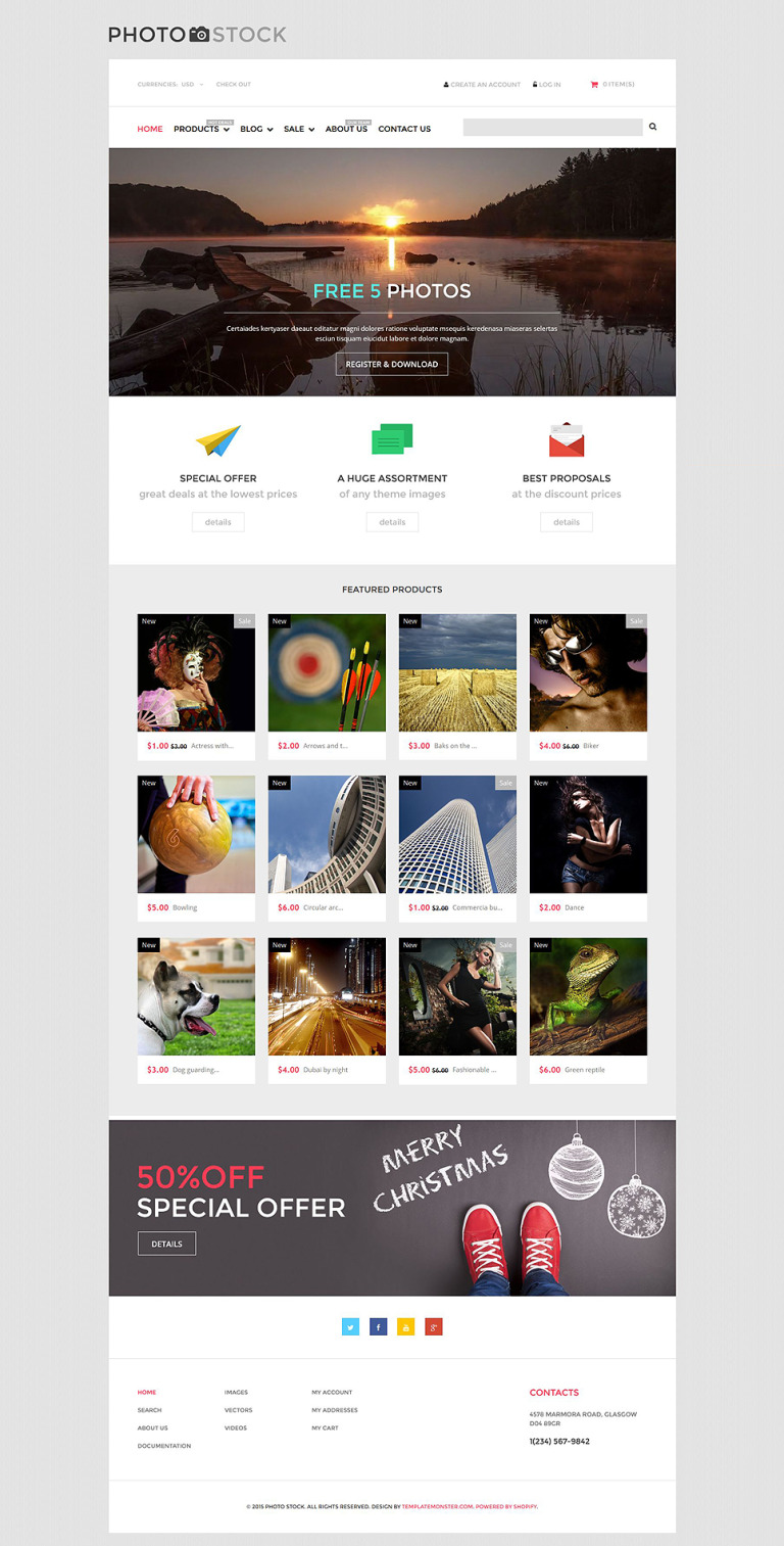Stock Photo Responsive Shopify Theme New Screenshots BIG