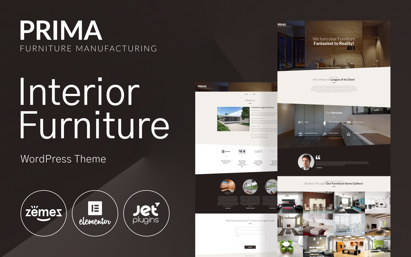 "Tema WordPress Responsive #53145 ""Interior Furniture WordPress Theme - Prima"""
