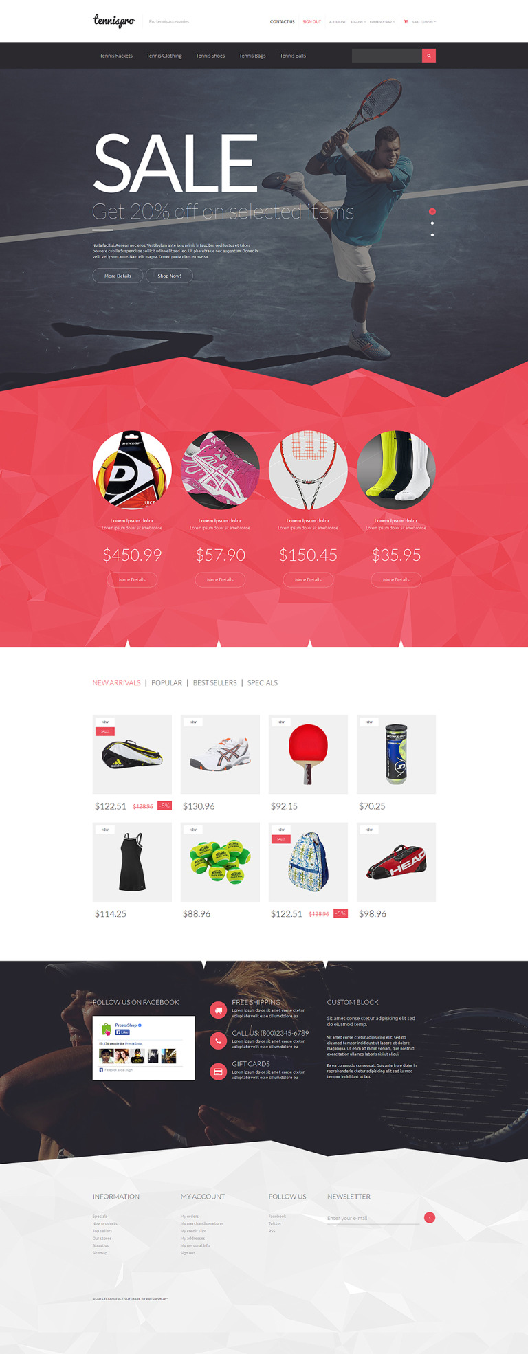 Tennis Gear PrestaShop Theme New Screenshots BIG