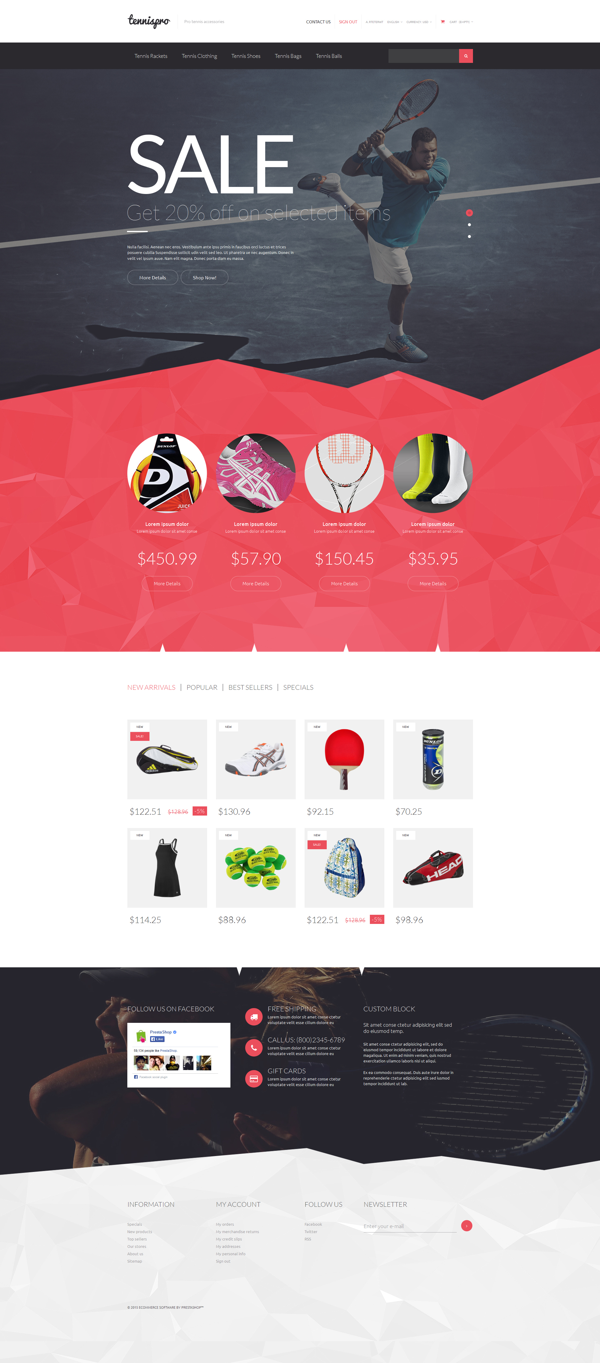 Tennis Gear PrestaShop Theme