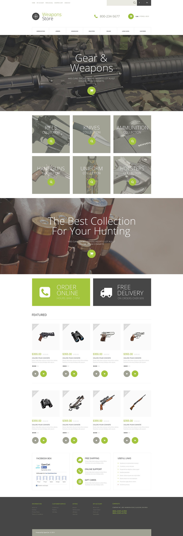 Weapons Collection OpenCart Template New Screenshots BIG