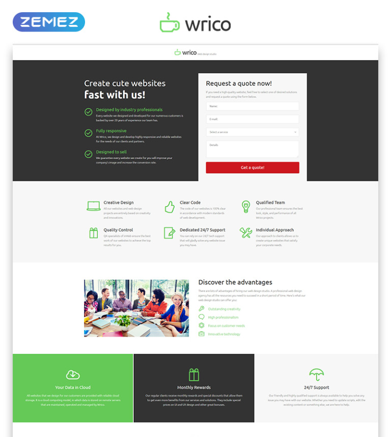 Wrico Landing Page HTML Template on cute business, cute health, cute weather, cute humor, cute portfolio,