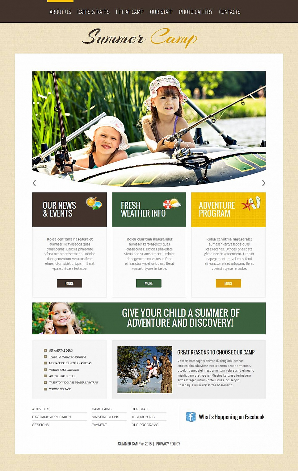 Sleepaway Camp Website Template - image