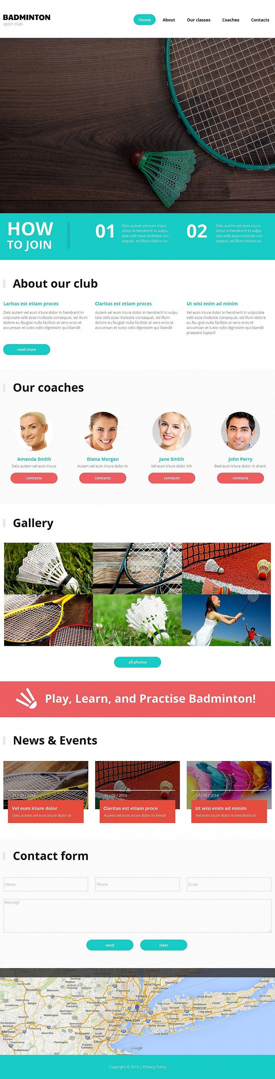 Web Template for a Badminton Club - image