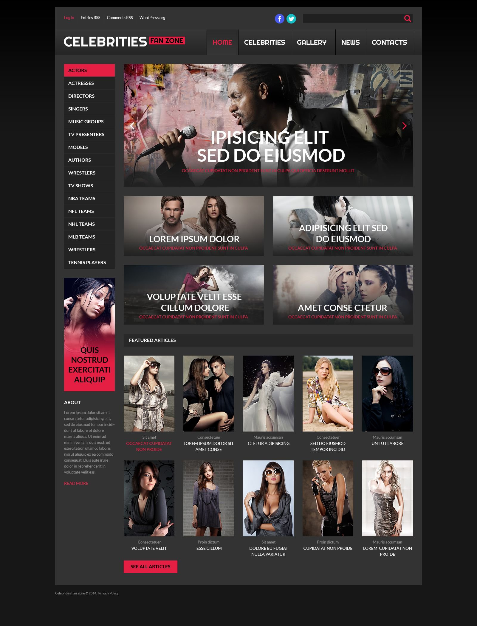 The Celebrities In WordPress Design 53261, one of the best WordPress themes of its kind (business, most popular), also known as celebrities in WordPress template, focus WordPress template, addresses WordPress template, stars WordPress template, entertainment WordPress template, news WordPress template, photos WordPress template, videos WordPress template, stories and related with celebrities in, focus, addresses, stars, entertainment, news, photos, videos, stories, etc.