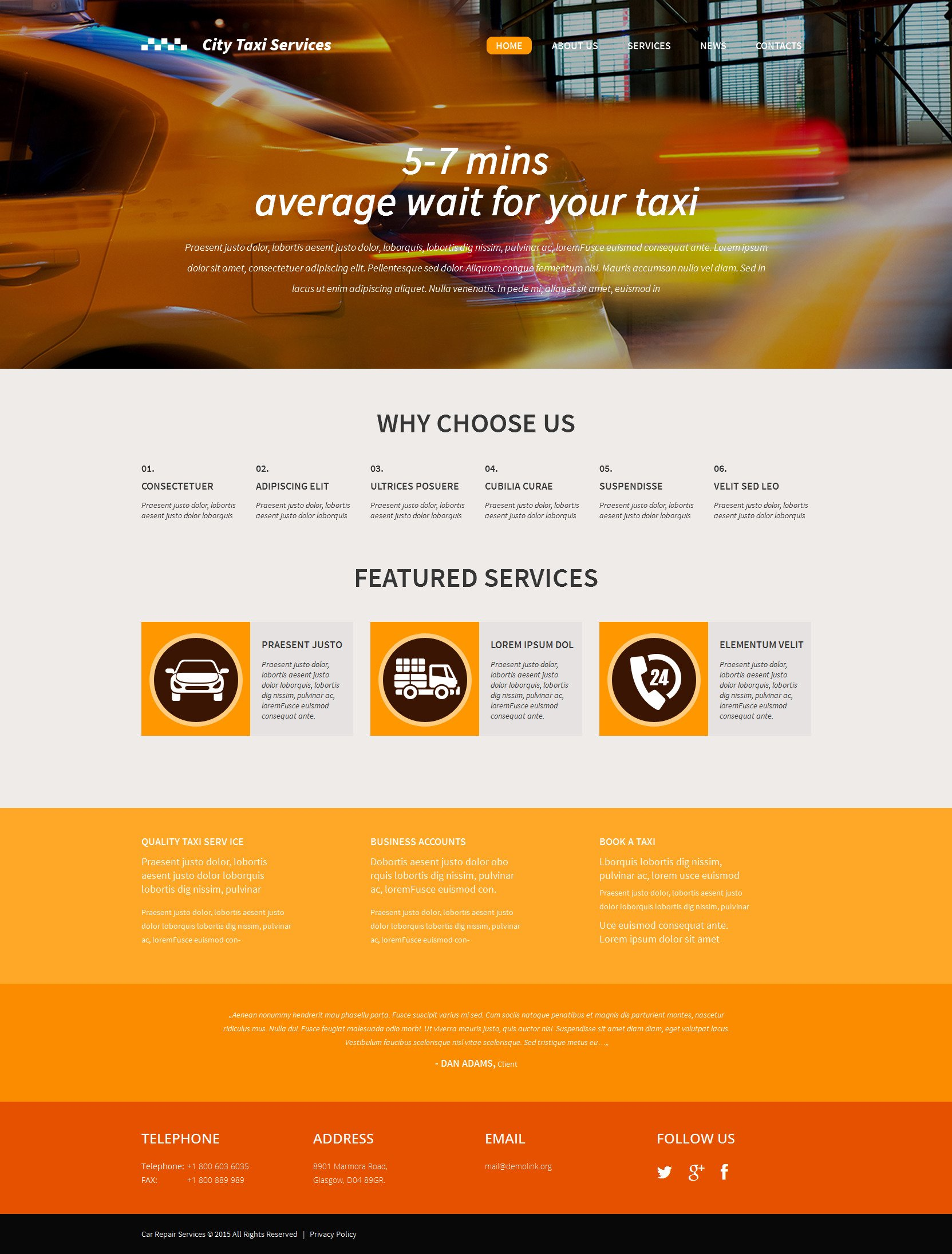 The Taxi Services Company WordPress Design 53299, one of the best WordPress themes of its kind (business, most popular), also known as taxi services company WordPress template, cab WordPress template, car WordPress template, city WordPress template, time WordPress template, fast WordPress template, speed WordPress template, driver WordPress template, trip WordPress template, safety WordPress template, need WordPress template, urgent WordPress template, stop transport WordPress template, journey WordPress template, phone and related with taxi services company, cab, car, city, time, fast, speed, driver, trip, safety, need, urgent, stop transport, journey, phone, etc.
