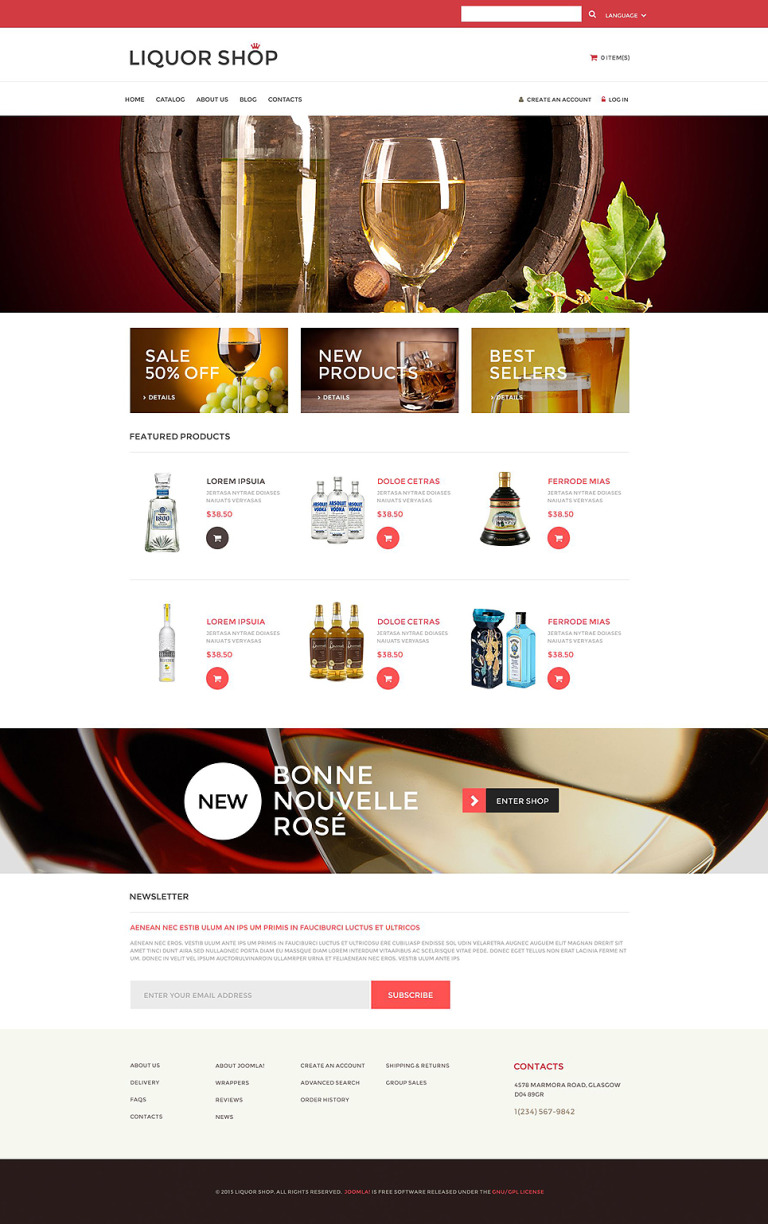 Alcoholic Drinks VirtueMart Template New Screenshots BIG