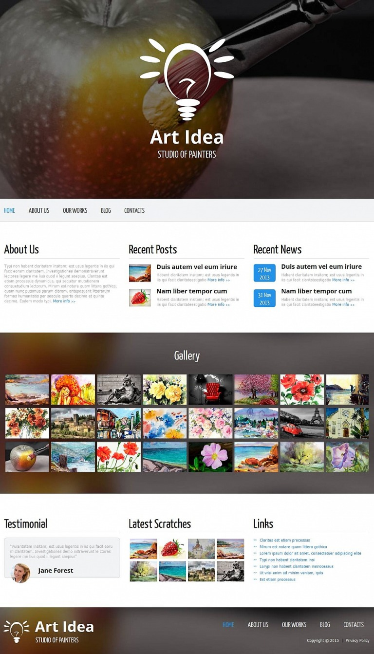 Art Studio Moto CMS HTML Template New Screenshots BIG