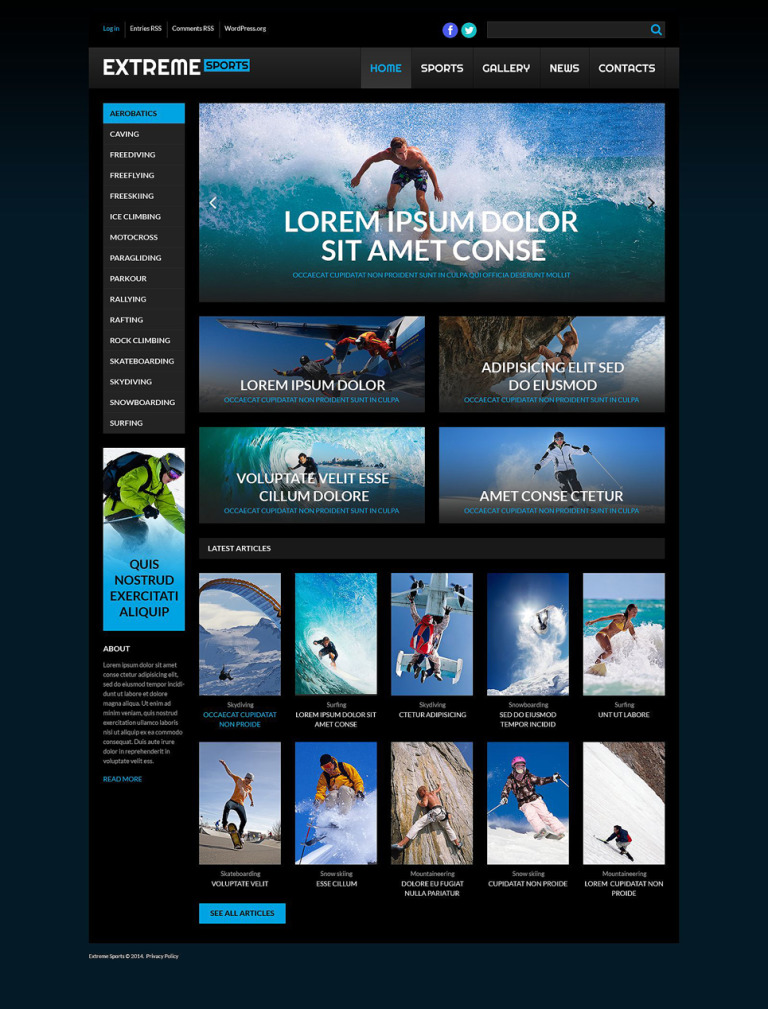 Extreme Sport WordPress Theme New Screenshots BIG