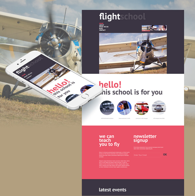 Flight School Moto CMS HTML Template New Screenshots BIG