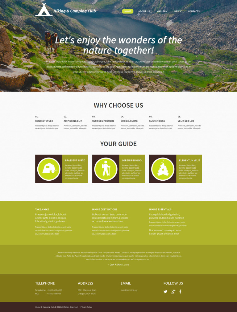 Hiking and Camping Club WordPress Theme New Screenshots BIG